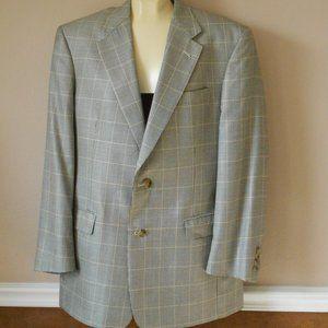BURBERRY Gray Plaid Sport Coat Jacket Blazer 40R